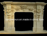 Egyptian Beige Marble Fireplace Mantle (L1-10)
