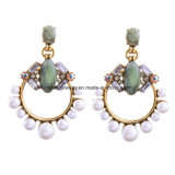 New Artificial Gem and Rhinestone Studded Female Earrings with Acrylic Pearl
