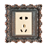 Brass Wall Power Socket with Antique Patterns (YXC001 BCU)