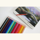 "7"" 24 Color Pencils in Flat Tin Box"