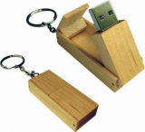 64GB Wooden Swivel USB Pendrive Keyring Flash Memory (UW07)
