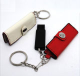 Customized Leather USB Flash Driver with Keychain