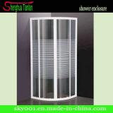 Simple No Tray Quadrant Stripe Tempered Glass Shower Screen (TL-412)