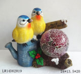 Polyresin Craft Bird with Solar Lamp for Garden Decoration