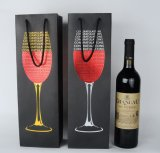 Wine Bottle Paper Packaging Bag with Foli Hot Stamping