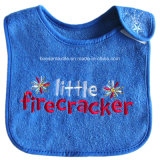 Custom Letters Embroidered Blue Soft Cotton Terry Baby Bib Wear