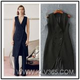 New Fashion Spring Autumn Women Ladies Double Breasted Long Slim Sleeveless Jacket