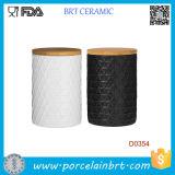 New Kitchen Food Ceramic Storage Jar with Bamboo Lid