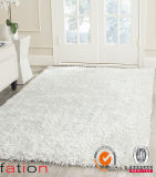 Fluffy White Chinese Knot Area Rug Indoor Plain Shaggy Carpet
