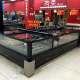 China Manufacture Fridge Top Glass Flat Island Freezer Display Showcase