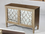 French Style Mirrored 2 Door Wooden Cabinet