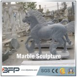 Hand Carved Sculpture--Dark Horse Marble Statue for Landscape Decoration