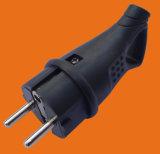 Industrial Rubber Plug 16A German Schuko Power Black Electrical Plug (p6052)