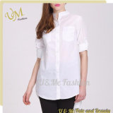 New Designs White Casual Long Loose Round Bottom Womens Shirts