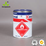 Un Rated Round 4L Printed Paint Metal Tin Can with Lid and Handle