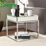 Mirrored Bedside Table with Stainless Legs