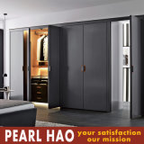Modern Open Door Black Wood Melamine Wardrobe
