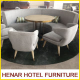 Modern Wood Leg Gray Half Moon Sectional Sofa/Hotel Lobby Furniture