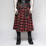 Q-325 Punk Rave Gentleman Plaid Male Red Skirt with England Fellings
