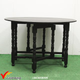 Round Flexible Vintage Wooden Dining Table Black