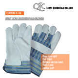 K-34 Grey Split Cow Leather Full Palm Liner Pasted Cuff Leather Gloves