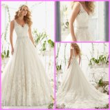 A-Line Lace Bridal Gown V-Neck Tulle Crystal Sash Wedding Dresses Mrl2821