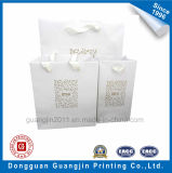 Custom Handmade White Kraft Paper Shopping Bag with Golden Logo