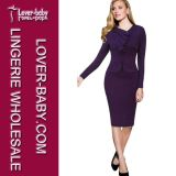 Purple Office Casual Pencil Lady Woman Dress (L36005-1)