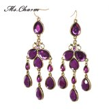 Drop Purple Rhinestone Tassel Drop Earrings for Women Fashion Jewelry Gallery Long Earings