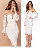 Deep-Vee Women Lace Sexy Bandage Narrow Straps Dress