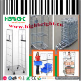 Double Doors Wire Mesh Rolling Container with Security Belt
