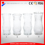 Different Types Glass Vase Cheap Embossed Pattern Clear Glass Flower Arrangement