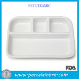 Devided White Cheap Ceramic Dinner Tray