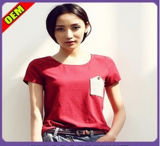 Fashion Sexy Cotton/Polyester Embroidery T-Shirt for Women (W296)