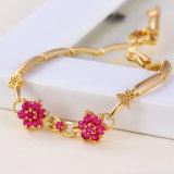 Xuping Flower Ruby Jewelry Gold Bracelet