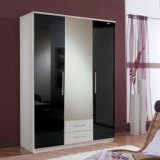 Wooden High Gloss 3 Door Mirrored Combi Wardrobe