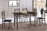 Home Furniture High Quality Black Wood Metal Dining Table Chairs