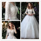 Half Sleeve Tulle Lace Ball Gown V-Neck Wedding Dress (Dream-100093)