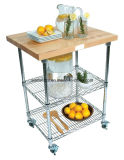 3 Tiers Metal Kitchen Trolley/Cart with Bamboo Board (TR603590A3C)