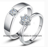 925 Sterling Silver Round Cut Stone Ladies Vintage Engagement Ring