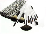 White Wooden Handle Cosmetic Makeup Brush Set with Special Pattern Pouch
