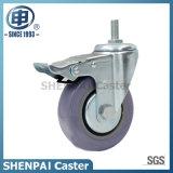 "3"" Grey Polythene Threaded Stem Swivel Locking Caster Wheel"
