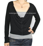 Ladies Knitted Long Sleeve Cardigan Sweater for Casual (12AW-185)