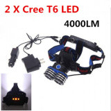 4000lm 2 CREE T6 LED Recharging Zoomable Hunting Headlamp