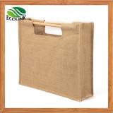 Handmade Vintage Eco Jute Bag with Wooden Handle