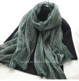 Hot Sale Soft Linen Cotton Woven Striped Scarf / Shawl (HWBLC06)