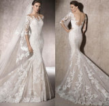 Lace Half Sleeves Nude V Neck Bridal Wedding Dress Gown