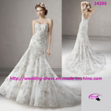 Sparkling Beaded Tulle Wedding Bridal Dress with Trumpet