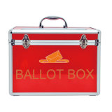 Aluminum Portable Red Ballot Box with Lock Small Size
