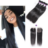 8A Brazilian Virgin Hair with Closure Brazilian Straight Human Hair Weave